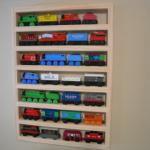 Thomas the tank Wooden Train Storage wall rack. Deoration.  Kids room Train theme. Storage Solutions for Kids play rooms.  Brio train Storage, Play table accessory.
